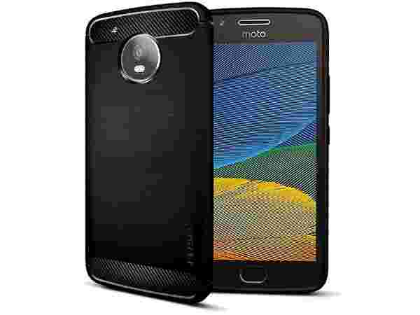 FOSO Back Cover Case for Moto G5 Carbon Fiber Shock Proof case