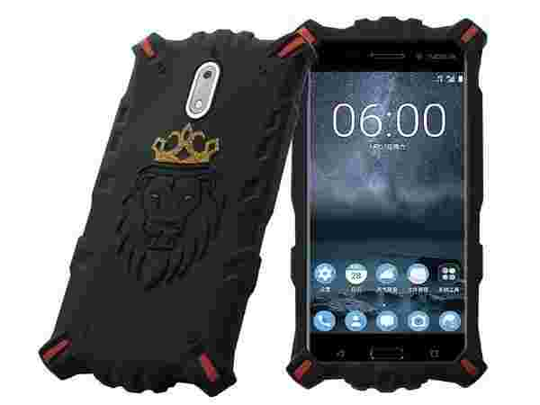 Febelo Royal Looking Lion With Crown Head Drop Protection Back Cover For Nokia 6 - (Gold Edition)