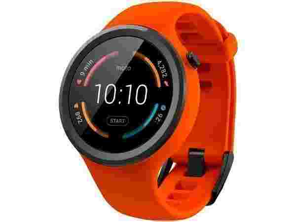 15% off on Motorola Moto 360 Sport Orange Smartwatch  (Orange Strap Regular)