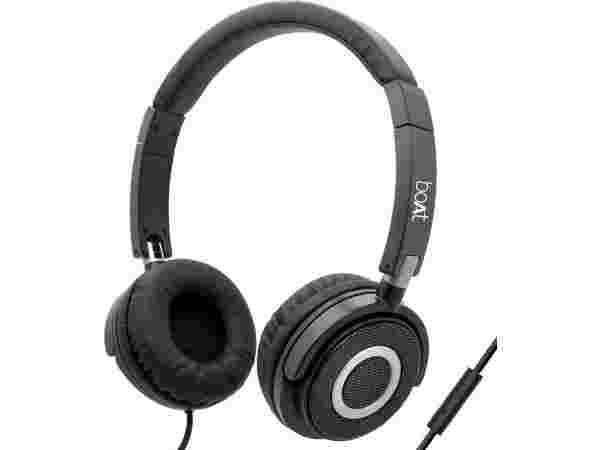 56% boAt BassHeads 900 Wired Headset with Mic  (Black, Over the Ear)