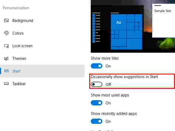 "How to disable ""Suggested Apps"" in Windows 10?"