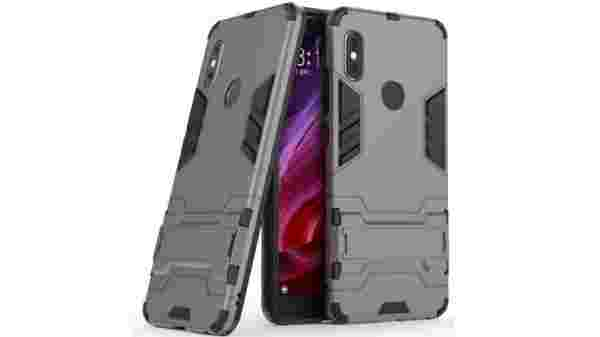 Nik case for Redmi 6 Pro Defender Series Dual Protection Layer Hybrid TPU + PC Kickstand Case Cover (Rubber, Plastic) D3 Grey
