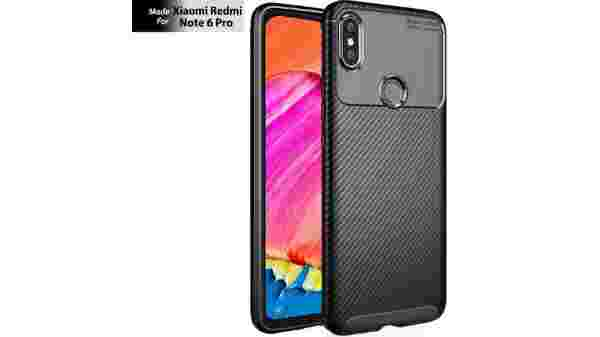 TheGiftKart Rugged Shockproof Carbon Fibre Slim Armour Back Cover Case for Xiaomi Redmi Note 6 Pro