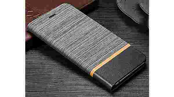 Denim Series Cloth + Leather Flip Wallet Case Stand with Card Holder Flip Cover for Samsung Galaxy A50