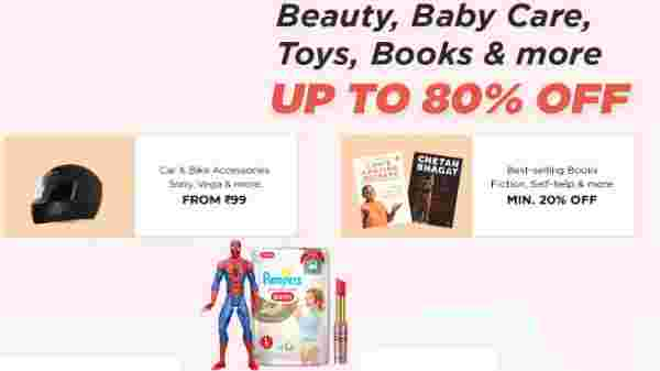 Upto 80% off Beauty, Baby Care, Toys, Books and More