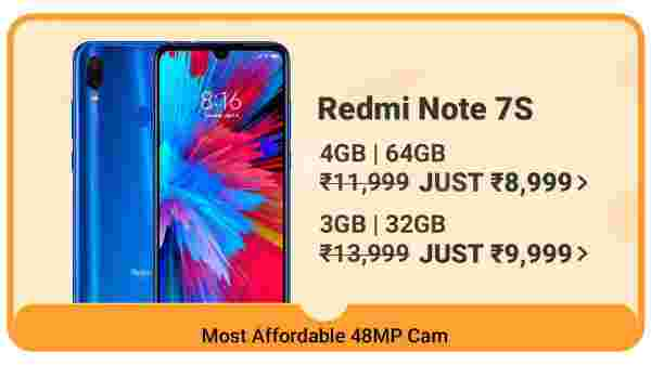 Redmi Note 7s (MRP: Rs. 13,999, Discount Price: Rs. 8,999)