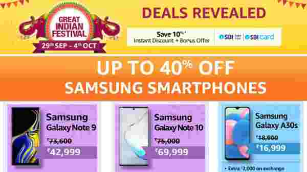 Amazon Great Indian Festival Sale on Samsung Smartphones