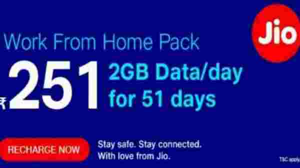 Reliance Jio Work From Home Pack