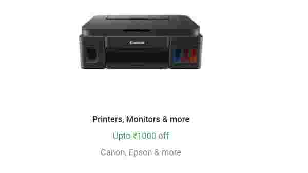 Up to Rs 1,000 Off On Printers, Monitors and More