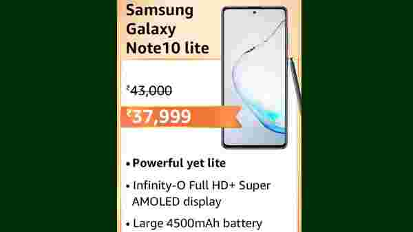 Samsung Galaxy Note 10 Lite (MRP: Rs. 43,000, After Discount Price Rs.37,999 )