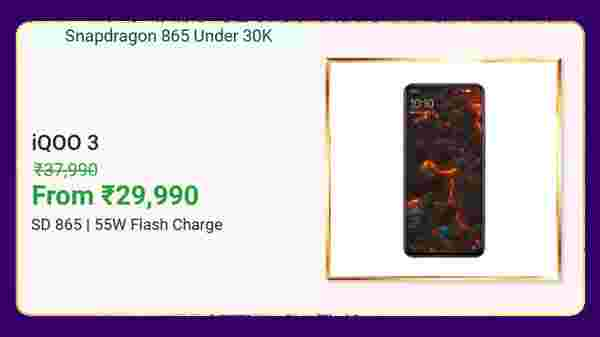iQOO 3 (MRP: Rs. 37,990 ,After Discount Price Rs. 29,990 )