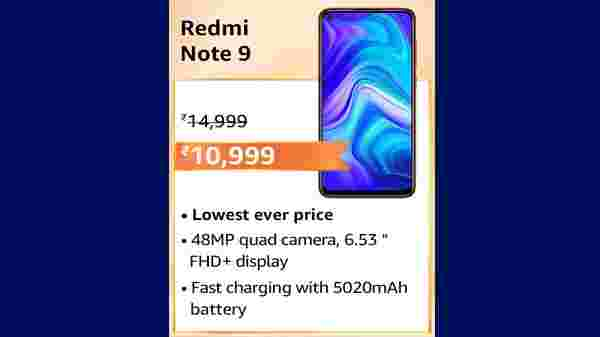 Redmi Note 9 (MRP: Rs.16,999 , After Discount Price: Rs.12,999 )