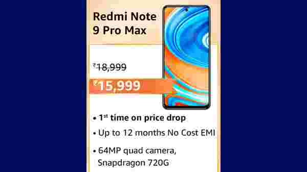 Redmi Note 9 Pro MAX(MRP: Rs.18,999 , After Discount Price: Rs.15,999)