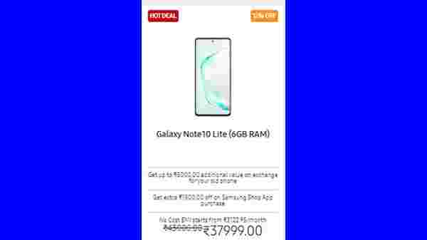 12% Off On Galaxy Note10 Lite (6GB) (Available At Rs. 37,999)