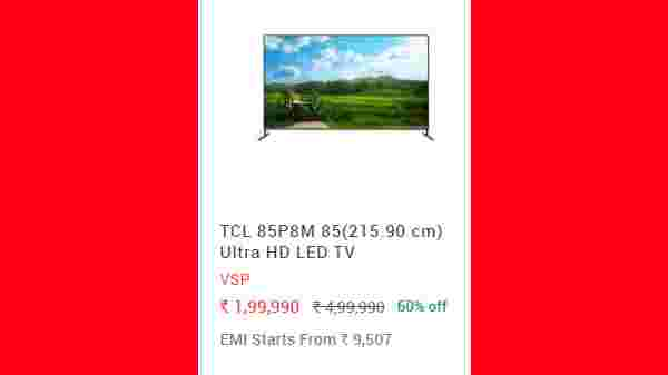 60% Off On TCL 85P8M 85(215.90 cm) Ultra HD LED TV