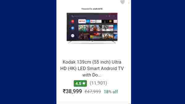 18% Off On Kodak 139cm (55 inch) Ultra HD (4K) LED Smart Android TV