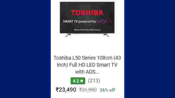 26% Off On Toshiba L50 Series 108cm (43 inch) Full HD LED Smart TV