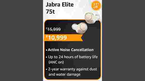 31% Off On Jabra Elite 75t True Wireless Active Noise Cancelling (ANC) Bluetooth Earbuds