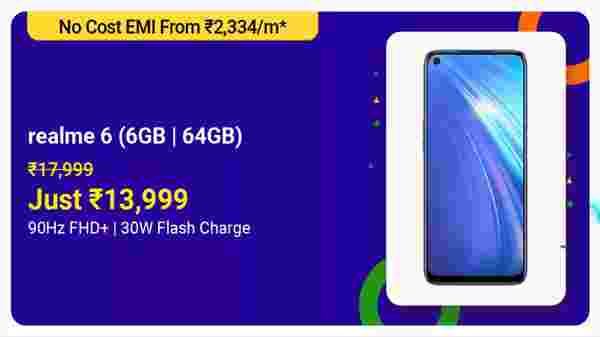 Realme 6 (MRP: Rs. 17,999, After Discount Price: Rs. 13,999)