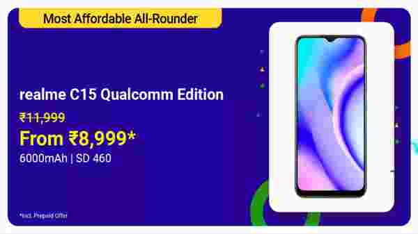 Realme C15 Qualcomm Edition (MRP: Rs. 11,999, After Discount Price: Rs. 8,999)