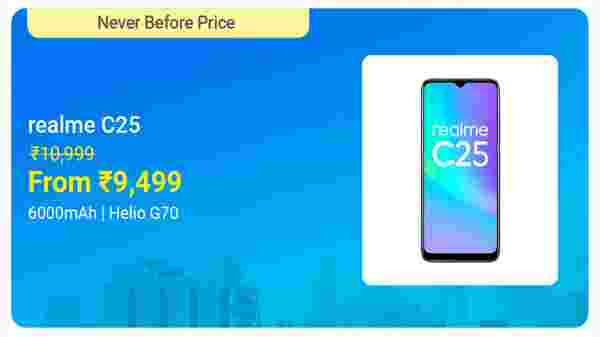 Realme C25 (Watery Blue, 64 GB)  (4 GB RAM)
