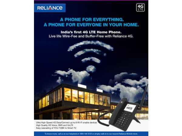 Reliance Communications Launches Android 4G VoLTE Fixed