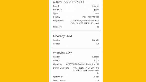 Poco F1 now supports Widevine L1 certification: Download the